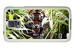 Hipster original Samsung Galaxy S5 Cases angry tiger in bush PC White for Samsung S5