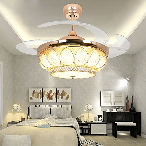 RS Lighting European Luxury Drop Ceiling Fan 42 inch with Chandelier for Restaurant Living Bedroom Remote Control Fan Lights by RS Lighting