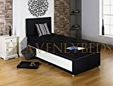 Single Divan Bed for Adults Or Kids Comes with Mattress Plus Storage and FREE Headboard (Black, 3ft - 2 Drawer)