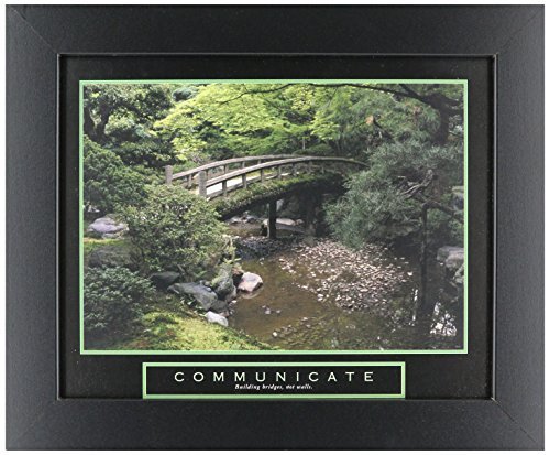 WallsThatSpeak Communicate Bridges Motivational Poster, 8 x 10-Inch, Green/Brown