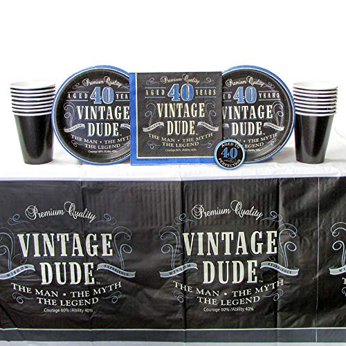 Vintage Dude 40th Birthday Party Supplies Pack for 16 Guests | The Man the Myth the Legend |Includes: 1 Birthday Button, 16 Dessert Plates, 16 Luncheon Napkins, 16 Cups, and 1 Table Cover | Forty