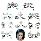Frugent 10 Sets Mermaid Face Gems Glitter - Rhinestone Rave Festival Face Jewels,Bindi Crystals Face Stickers, Eyes Face Body Temporary Tattoos for Music Festivals Bohemian Coachella (Mermaid tale)