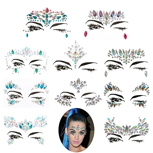Frugent 10 Sets Mermaid Face Gems Glitter - Rhinestone Rave Festival Face Jewels,Bindi Crystals Face Stickers, Eyes Face Body Temporary Tattoos for Music Festivals Bohemian Coachella (Mermaid tale) by Frugent