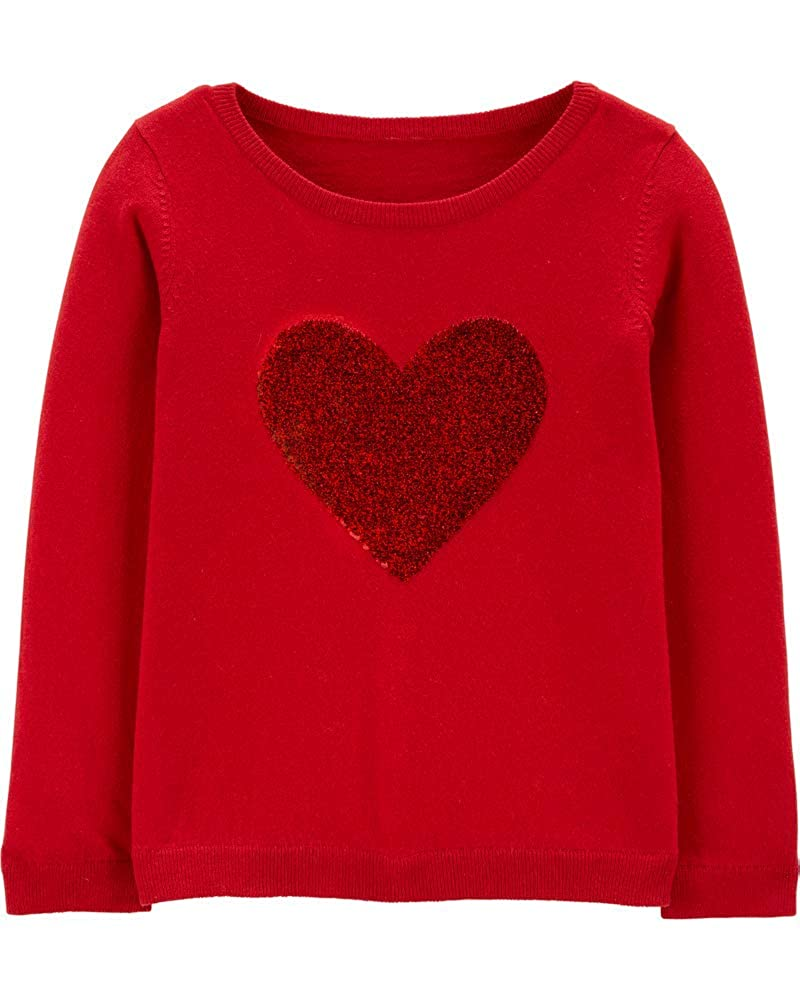 Carters Girls Valentines Day Red Heart Sweater with Flip Sequins