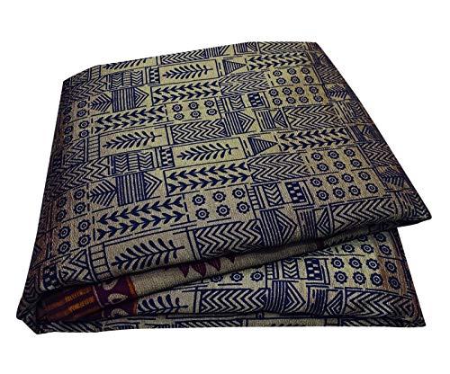 Peegli Indian Antique Sari Brown Casual Curtain Drape Leaf Design Women Vintage Saree Silk Blend Dress Making Fabric 5 - Blend Vintage Silk