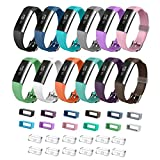 Bon Tech Adjustable Replacement Wrist Band with Stainless Steel Buckle and Free Fasteners for Fitbit Alta (Smooth Surface - Pack of 12)