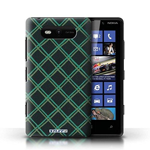 Etui / Coque pour Nokia Lumia 820 / Vert/Noir conception / Collection de Motif Entrecroisé