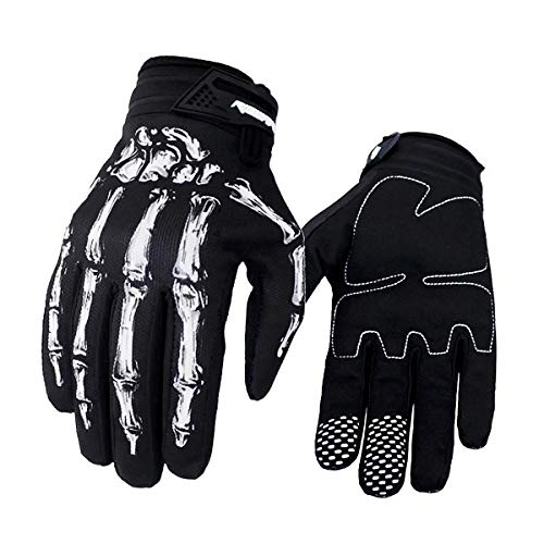 Comtervi Unisex Full Finger Skeleton Bones Pattern Motocross Gloves for Biking Cycling Motorcycle Climbing Hiking (White, L)