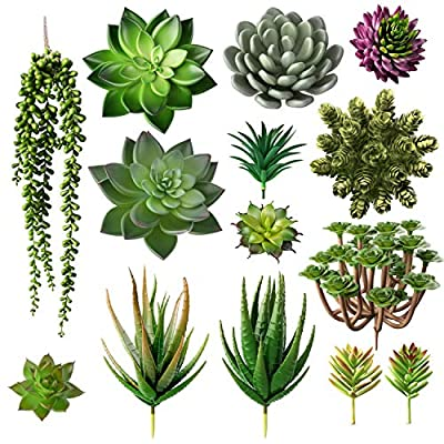 Bioexcel Fake Succulent Plants - Pack of 14 Artificial Succulent Plants - Without Pots Faux Succulents for Indoor and Outdoor Home Decor