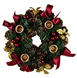 Advent Christmas Pinecone Wreath with Burgundy Ribbon and Gold Leaves, 11 Inch