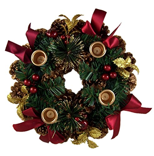 Advent Christmas Pinecone Wreath with Burgundy Ribbon and Gold Leaves, 11 Inch (Advent Wreaths Gold)