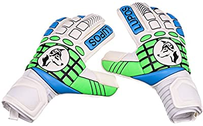 Goalie Gloves Lupos for Youth, Kids, Adult. Fingersave, Backhand with 8 mm Extra Pad for Shock Absorption, 4 mm German Latex Giga Grip Palm, Perfect for Match and Training. Sizes 6 to 11.