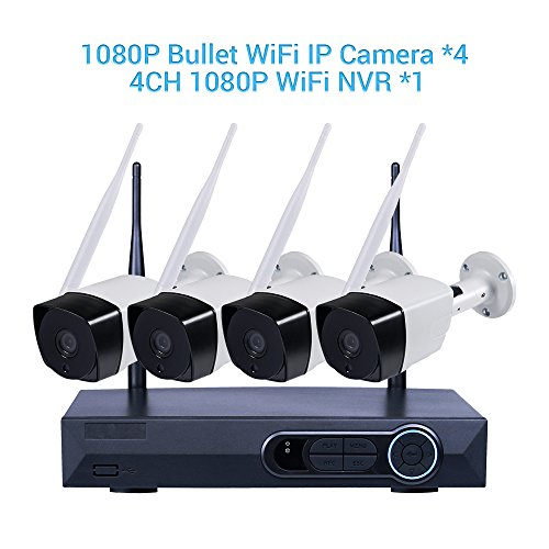 Full HD 1080P 4CH NVR Kits Wireless Network Home Security Camera System Video Recorder 4PCS 2.0 Megapixel Indoor Outdoor Wifi Bullet IP Surveillance Camera 90ft Night Vision Waterproof Auto Pair