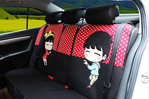 20pcs/SET new 2016 luxury cartoon Seat Covers for cars Front & Back car covers four seasons Universal car seat cover car interior Red dot & black V5603 by Maimai88 (Image #3)