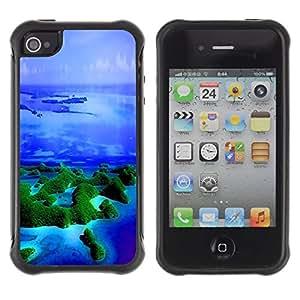 LASTONE PHONE CASE / Suave Silicona Caso Carcasa de Caucho Funda para Apple Iphone 4 / 4S / Islands Tropics Nature Blue Ocean Sea