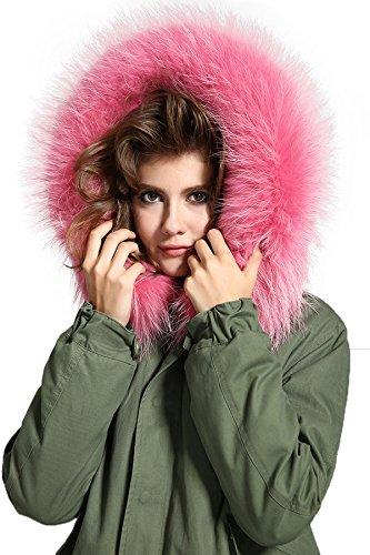 Lea-Marie �?parka XXL, con cuello de pelo auténtico 100%, corta, color caqui, 8colores Rosa L