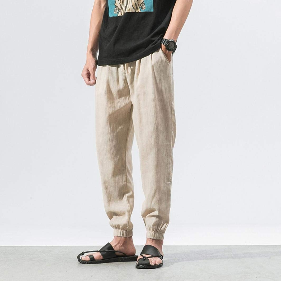 419acf4bd747 Perman Men's Casual Linen Harem Baggy Drawstring Waistband Ankle ...