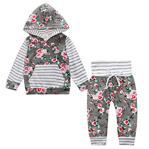 Floral Cotton Set Legging (Toddler Baby Girl 2pcs Set Outfit Floral Striped Print Flower Hoodies Top and Floral Pants Leggings Set with Kangaroo Pocket)