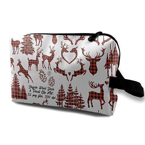 LEIJGS Deer Clipart Buffalo Plaid Small Travel Toiletry Bag Super Light Toiletry Organizer for Overnight Trip Bag