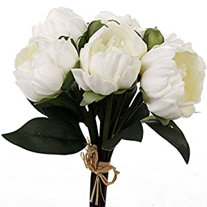 "Meide Group USA 14"" Real Touch Latex Mini Peony Bunch Artificial Spring Flowers for Home Decor, Wedding Bouquets, and centerpieces (6 PCS) 86"