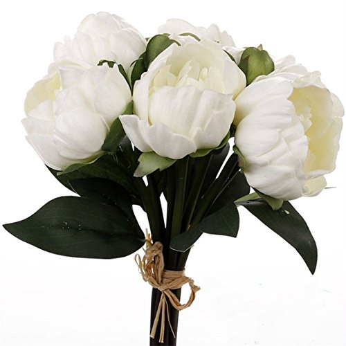 Meide Group USA 14 Real Touch Latex Mini Peony Bunch Artificial Spring Flowers for Home Decor, Wedding Bouquets, and centerpieces (6 PCS) (Milky White)