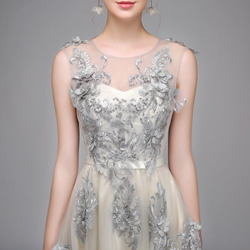 Clair Robe Goddess Fleur De Robe Robe Parti De Sun Dentelle Tulle 8 14 Longue Élégante Soirée Banquet Robe Gris Officiel 8zBd1q