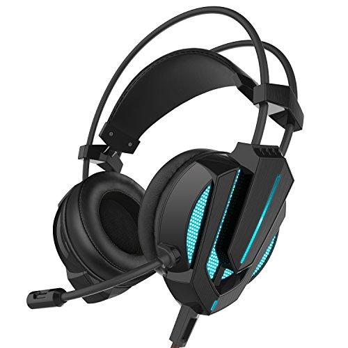 Sound Intone G9 Headset mit Stereo-Sound, LED-Beleuchtung, Vibrationseffekte, Mikrofon und Lautstärkeregler für PC Laptop Computer (schwarz)