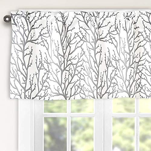 Th3mys Tree Branch Botanical Pattern Valance for Windows Rod Pocket Window Curtain Valance for Living Room Bedroom Kitchen 52 by 18 Inch Gray (Cool Window Valances)