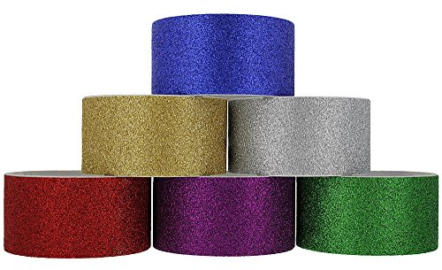 RAM-PRO Glitter Heavy-Duty Duct Tape | Assorted Fluorescent Colors Pack of 6 Rolls, 1.88-inch x 3 Yard - Colors Included: Purple, Silver, Green, Red, Blue & Gold.