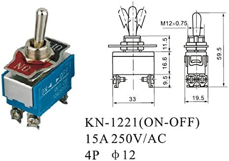 Dynamic Wendao Kn-1221 on//Off AC 250V 15A 4 Broches Bascule Interrupteur /À Bascule 5Pcs