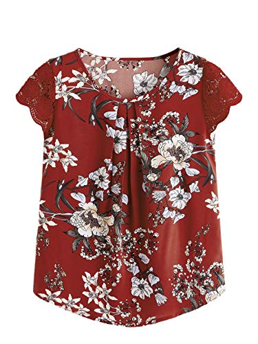 - Milumia Women's Boho Flower Print Lace Sleeve Pleated Cap Sleeve Work Blouse Top