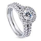 BERRICLE Rhodium Plated Silver Cubic Zirconia CZ Art Deco Halo Engagement Ring Set 2.41 CTW Size 5