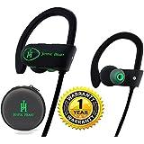 Joyful Heart JH-800 Waterproof Noise Cancelling Wireless Bluetooth Earbuds Sports Headphones with Mic, Black-Green