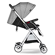 Besrey Lightweight Baby Stroller with Rain Cover Foldable Lightweight Stroller Infant Adjustable Pushchair Pram with Storage Basket for 0-36 Months - Grey