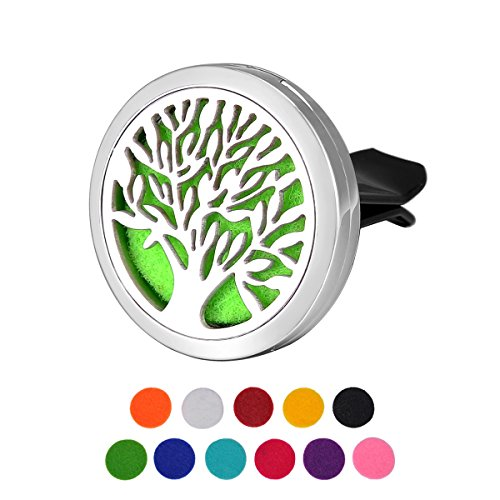 Housweety Car Air Freshener Aromatherapy Essential Oil Diffuser - Tree of Life Stainless Steel Locket,11 Refill Pads (With Gift Bag)