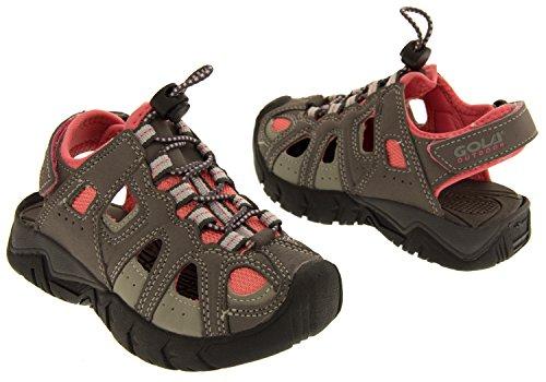 Gola unisex niño caminando correa de velcro ajustable y sandalias de verano Senderismo Gris y rosa