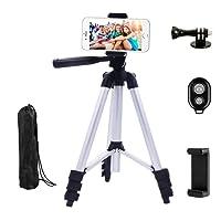 Dezuo 107cm Alluminio Cavalletto Treppiede Reflex per fotocamera, Smartphone, iPhone Compreso Supporto Universale Cellulare e Telecomando Bluetooth per Video e Fotografici