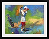 GreatBIGCanvas ''A young boy swinging at the golf ball'' by Richard Wallich Photographic Print with Black Frame, 30'' x 23''