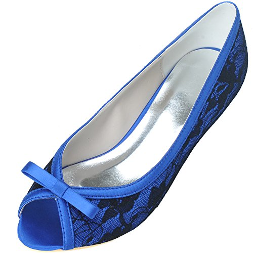 LOSLANDIFEN Low Elegant Bridal Shoes Lace Wedding Women's Blue Peep Heels Bow Toe rq66I15w