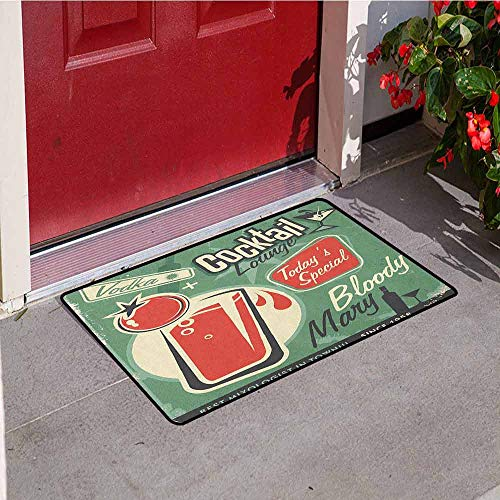 Gloria Johnson Retro Commercial Grade Entrance mat Nostalgic Poster Bar Art for Todays Special Famous Cocktail Bloody Drink and Vodka for entrances garages patios W29.5 x L39.4 Inch Green -