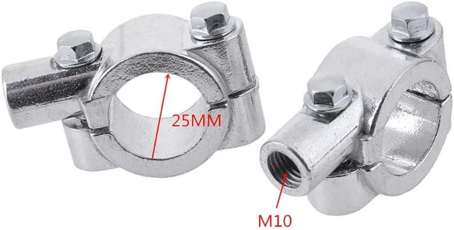 Farbe : Silver- 25MM M10 Motorrad Zubeh/ör Universal 22 MM 25 MM Aluminium Motorrad Lenker R/ückspiegel Montieren Lenker Halterung Halter Zubeh/ör
