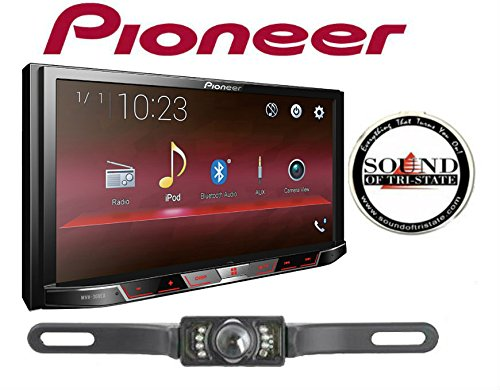 Pioneer MVH-300EX 7'' Digital Multimedia Video Receiver (Does NOT Play CDs) w/CrimeStopper SV51301IR License Plate Style Backup Camera and a SOTS Air Freshener