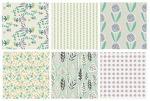 Fat Quarters Bundle with Birds | Forest Woodland Quilt Fabric Bundle | Mint Gray Art Gallery Fabrics | Gender Neutral Nursery Fabrics | Leaves and Flowers (Fat quarters)