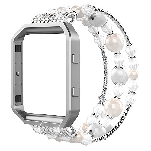 Simpeak Compatible for Fitbit Blaze Band with Frame, Replacement Fashionable Beaded Elastic Bracelet Band Strap for Fit bit Blaze Smartwatch - Large(7.28),White