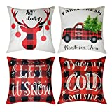 Kithomer Set of 4 Christmas Pillow Covers Buffalo Plaid Farmhouse Decorative Cotton Linen Throw Pillow Cases 18 x 18 Inch Christmas Home Decoration