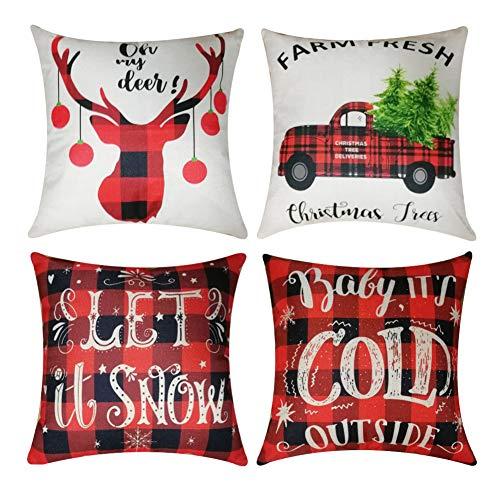 Kithomer Set of 4 Christmas Pillow Covers Buffalo Plaid Farmhouse Decorative Cotton Linen Throw Pillow Cases 18 x 18 Inch Christmas Home Decoration