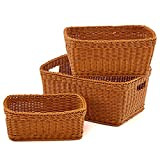 EZOWare Set of 3 Waterproof Storage Weaving Baskets Bins Organizer with Handle for Towels, Toys, Baby, Kids, Home Decor - Brown