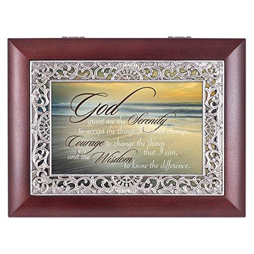 Serenity Prayer Ocean Waves Ornate Rosewood Jewelry Music Box Plays Wonderful - Serenity Music Box