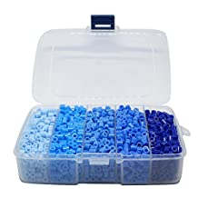 Pandahall 1 Box(about 1900pcs) 5 Colors 5mm Tube Melty Beads PE DIY Fuse Beads Refills Hama Beads for Kids Craft Making - Gradual Blue Color