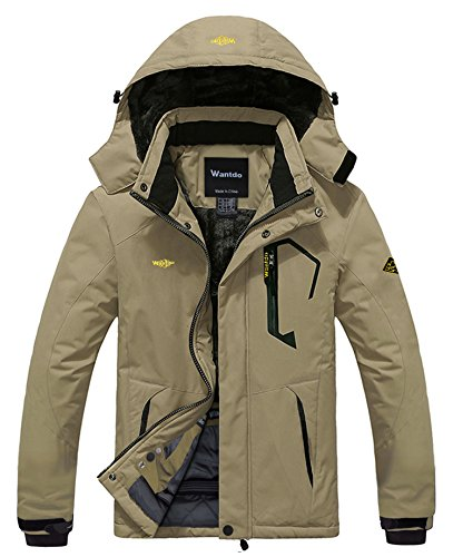 - Wantdo Men's Waterproof Mountain Jacket Fleece Windproof Ski Jacket US M  Khaki M